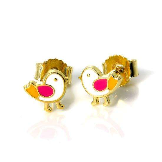 Small 9ct Gold & Enamel Cute Chick Stud Earrings