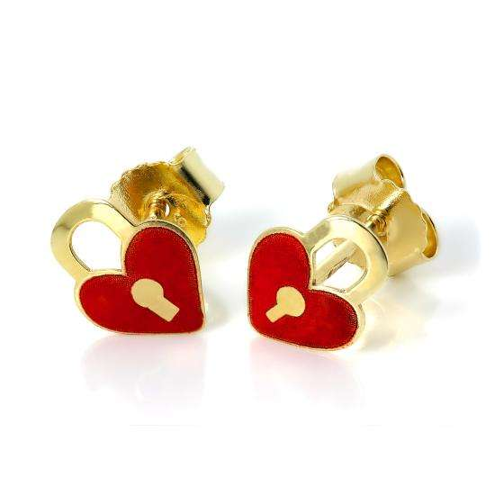 9ct Gold & Enamel Heart Padlock Stud Earrings