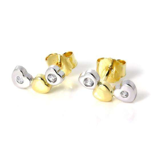 9ct White & Yellow Gold Triple Heart Stud Earrings with CZ Crystals