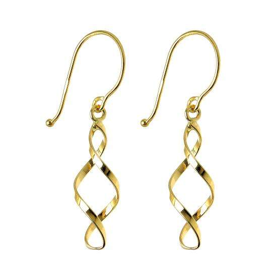 9ct Gold Double Twist Drop Earrings