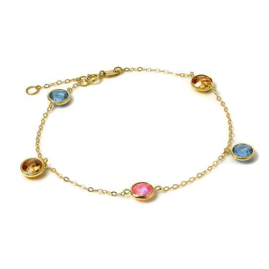 9ct Gold 7 Inch Trace Chain Bracelet with CZ Crystals