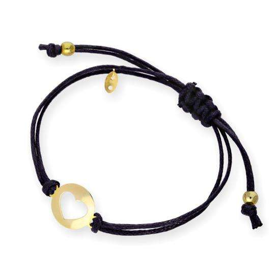 9ct Gold Open Heart Black Cord Adjustable Bracelet