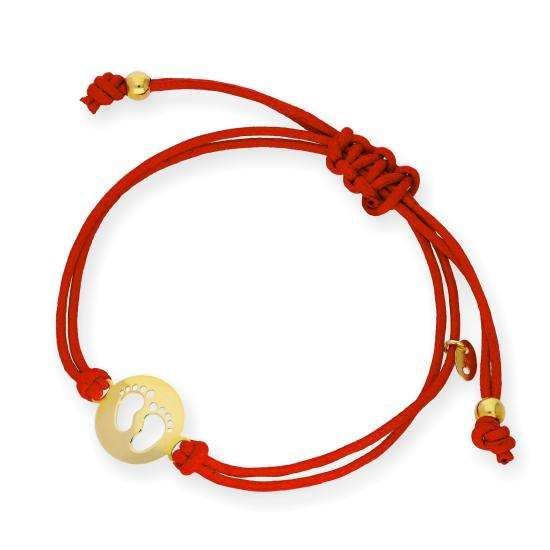 9ct Gold Baby Feet Outline Red Cord Adjustable Bracelet