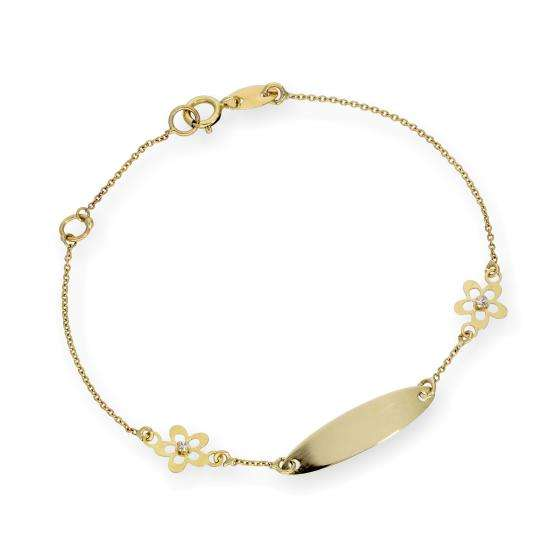 9ct Gold Oval ID Plate Bracelet with CZ Flowers