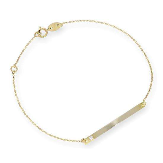 9ct Gold Thin ID Plate Bracelet with CZ Crystal