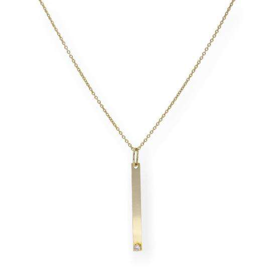9ct Gold Thin ID Plate Necklace with CZ Crystal