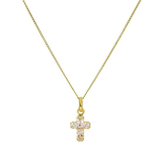 Small 9ct Gold & CZ Crystal Cross Pendant Necklace 16 - 20 Inches