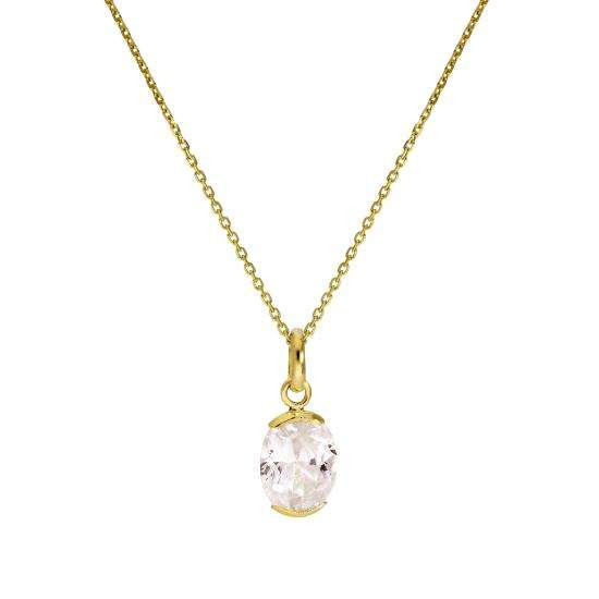 9ct Gold & Clear CZ Crystal Oval Pendant Necklace 16 - 20 Inches