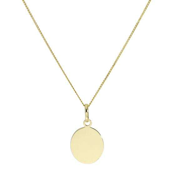 9ct Gold Engravable Oval Pendant Necklace 16 - 20 Inches