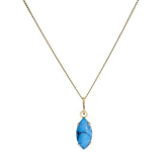 9ct Gold & Turquoise Stone Oval Pendant Necklace 16 - 20 Inches