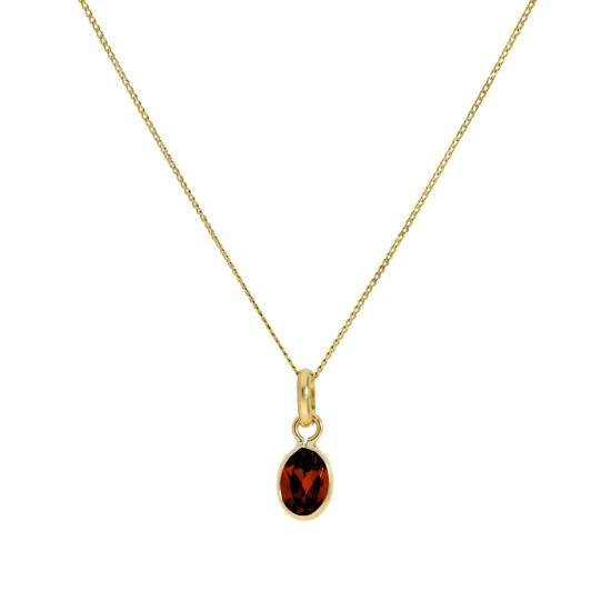 Small 9ct Gold & Garnet CZ Crystal Oval Pendant Necklace 16 - 20 Inches