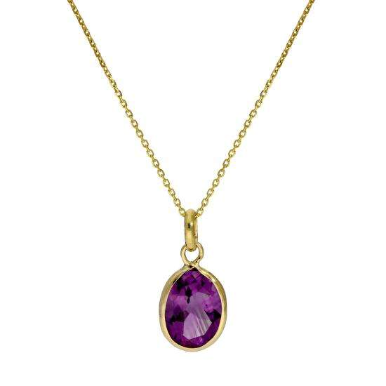 9ct Gold & Amethyst CZ Crystal Oval Pendant Necklace 16 - 20 Inches