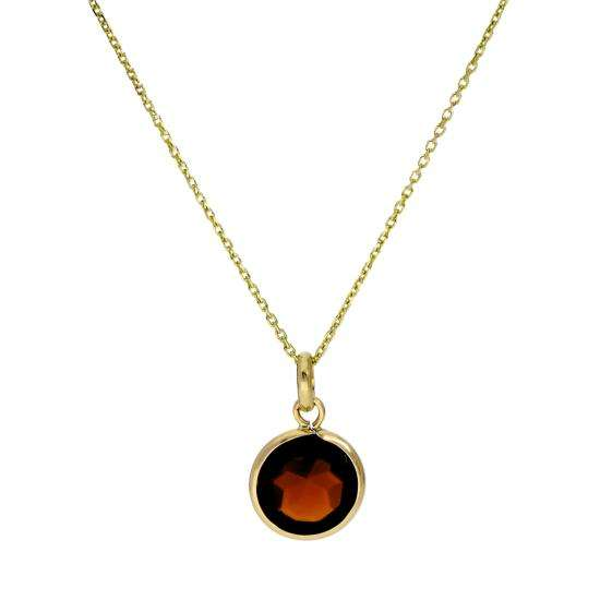 9ct Gold & Garnet CZ Round Pendant Necklace 16 - 20 Inches