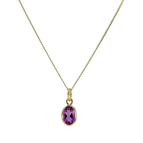 Small 9ct Gold & Amethyst CZ Crystal Oval Pendant Necklace 16-20 Inches February