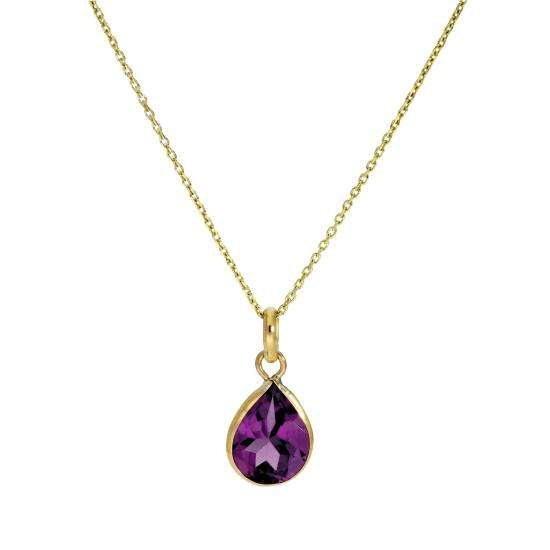 9ct Gold & Amethyst CZ Crystal Teardrop Pendant Necklace 16 - 20 Inches