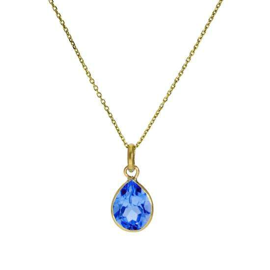 9ct Gold & Aquamarine CZ Crystal Teardrop Pendant Necklace 16 - 20 Inches