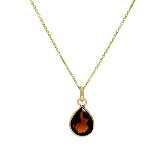 9ct Gold & Garnet CZ Crystal Teardrop Pendant Necklace 16 - 20 Inches