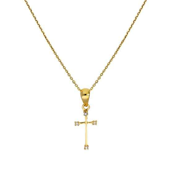 9ct Gold & Diamond Cross Pendant Necklace 16 - 20 Inches