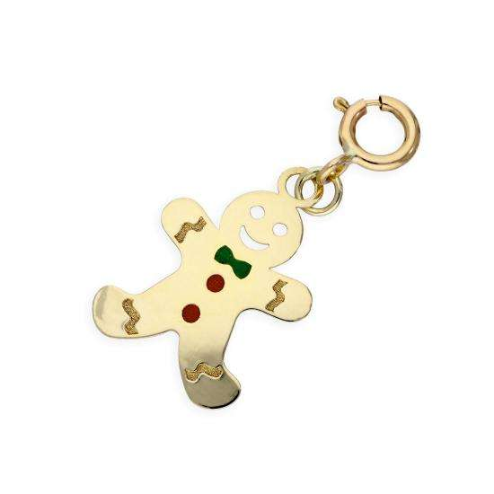 9ct Gold Gingerbread Man Clip on Charm