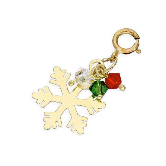 9ct Gold Snowflake & Coloured Beads Clip on Charm