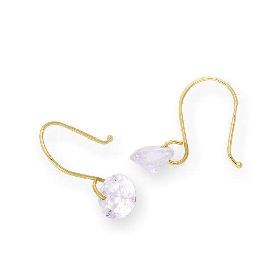 9ct Gold & Clear CZ Crystal Dangle Earrings