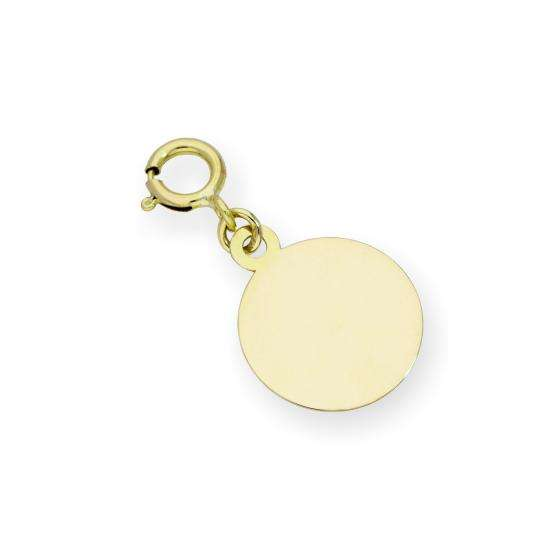 9ct Gold Engravable Round Clip on Charm