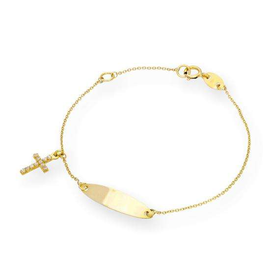 9ct Gold & Clear CZ Crystal Engravable ID Plate Bracelet with Hanging Cross Charm
