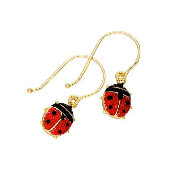 9ct Gold & Enamel Ladybird Dangle Drop Earrings