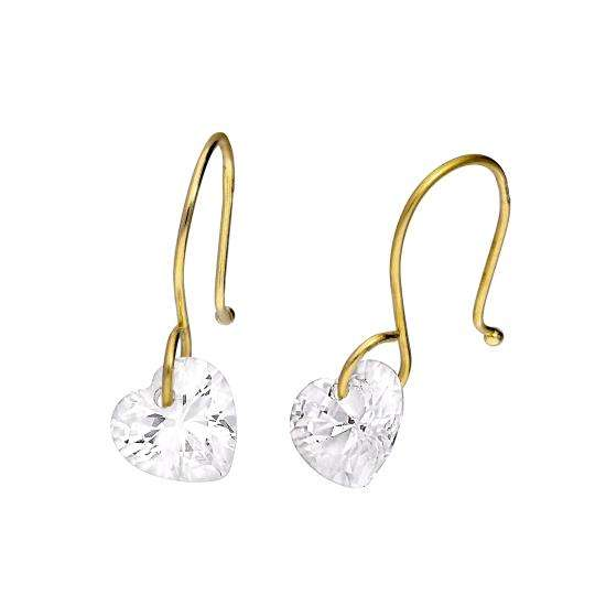 9ct Gold & Clear CZ Crystal Heart Dangle Drop Earrings
