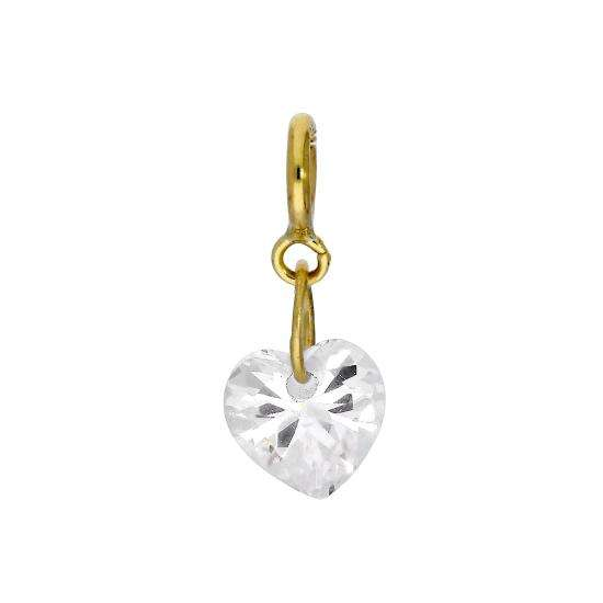 9ct Gold & Clear CZ Crystal Heart Clip On Charm