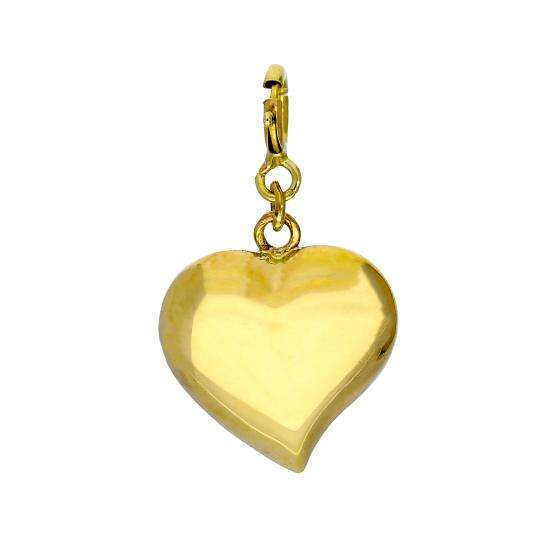 9ct Gold Heart Clip On Charm