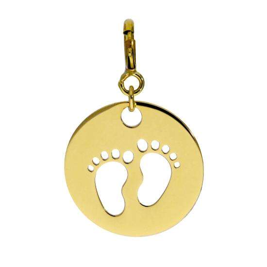 9ct Gold Circle w Cut Out Footprints Clip On Charm