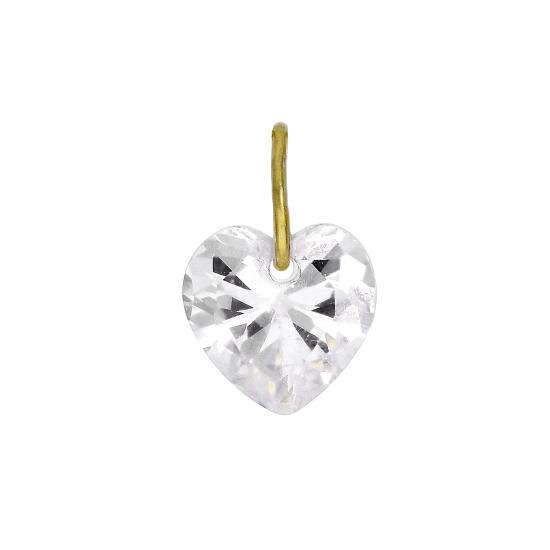 9ct Gold & Clear CZ Crystal Heart Charm