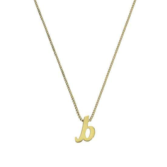 Tiny 9ct Gold Alphabet Letter B Pendant Necklace 16 - 20 Inches
