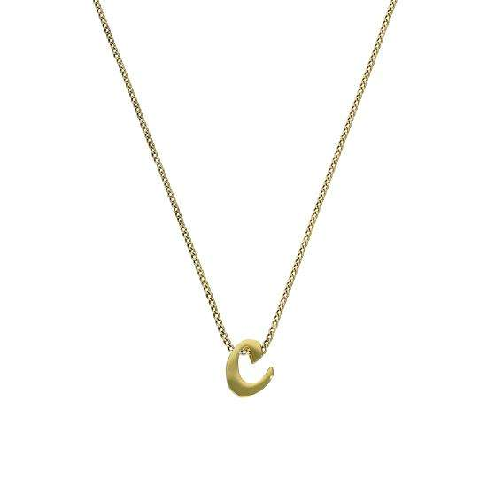 Tiny 9ct Gold Alphabet Letter C Pendant Necklace 16 - 20 Inches