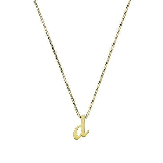 Tiny 9ct Gold Alphabet Letter D Pendant Necklace 16 - 20 Inches