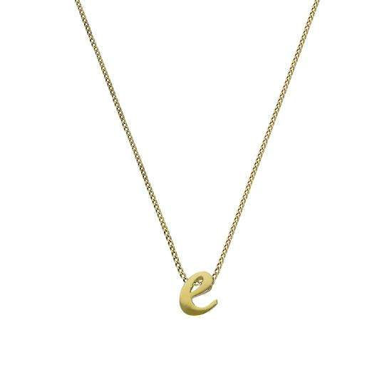 Tiny 9ct Gold Alphabet Letter E Pendant Necklace 16 - 20 Inches