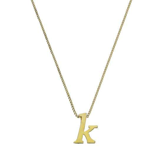 Tiny 9ct Gold Alphabet Letter K Pendant Necklace 16 - 20 Inches