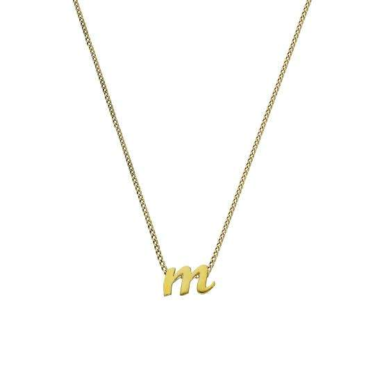 Tiny 9ct Gold Alphabet Letter M Pendant Necklace 16 - 20 Inches