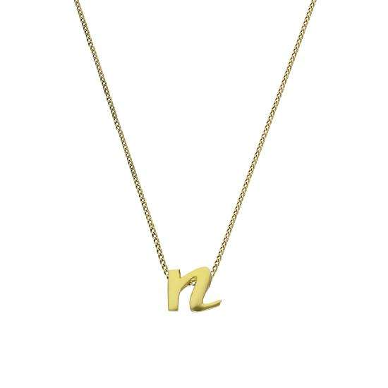 Tiny 9ct Gold Alphabet Letter N Pendant Necklace 16 - 20 Inches