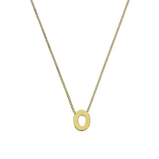 Tiny 9ct Gold Alphabet Letter O Pendant Necklace 16 - 20 Inches