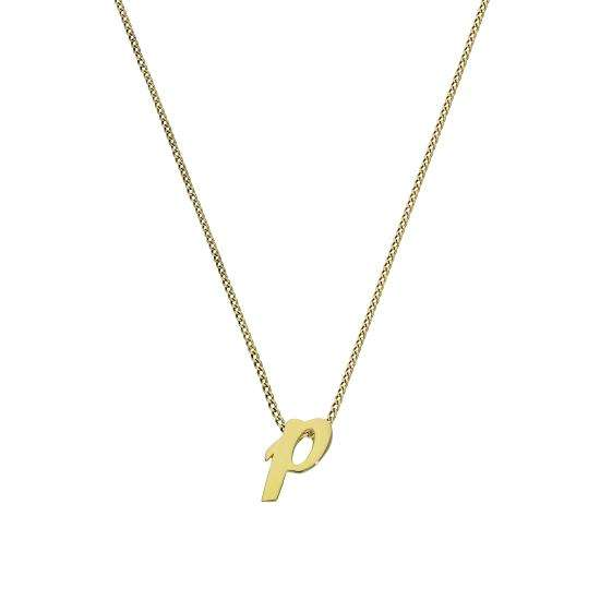 Tiny 9ct Gold Alphabet Letter P Pendant Necklace 16 - 20 Inches