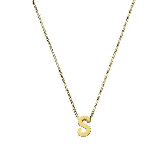 Tiny 9ct Gold Alphabet Letter S Pendant Necklace 16 - 20 Inches