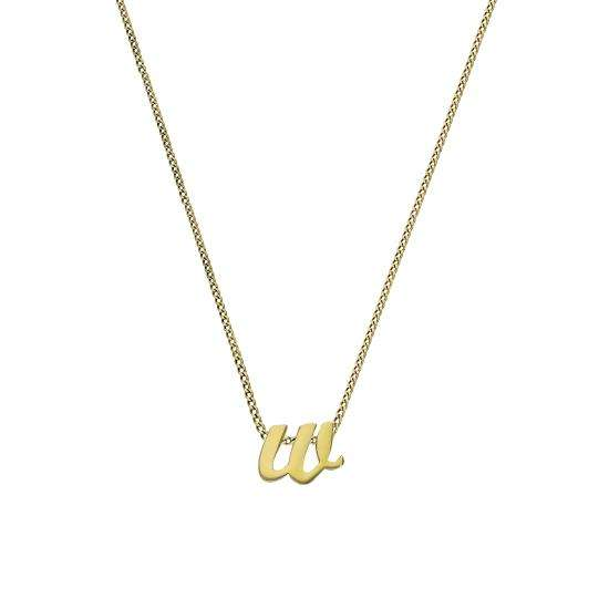 Tiny 9ct Gold Alphabet Letter W Pendant Necklace 16 - 20 Inches