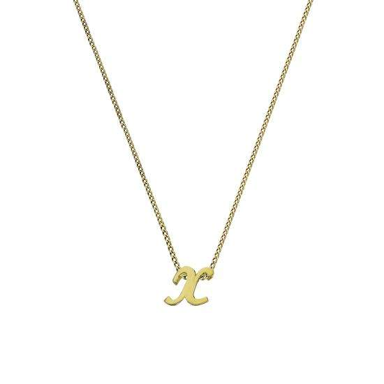 Tiny 9ct Gold Alphabet Letter X Pendant Necklace 16 - 20 Inches