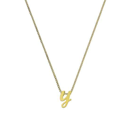 Tiny 9ct Gold Alphabet Letter Y Pendant Necklace 16 - 20 Inches