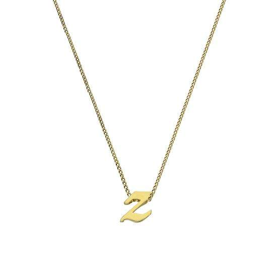 Tiny 9ct Gold Alphabet Letter Z Pendant Necklace 16 - 20 Inches