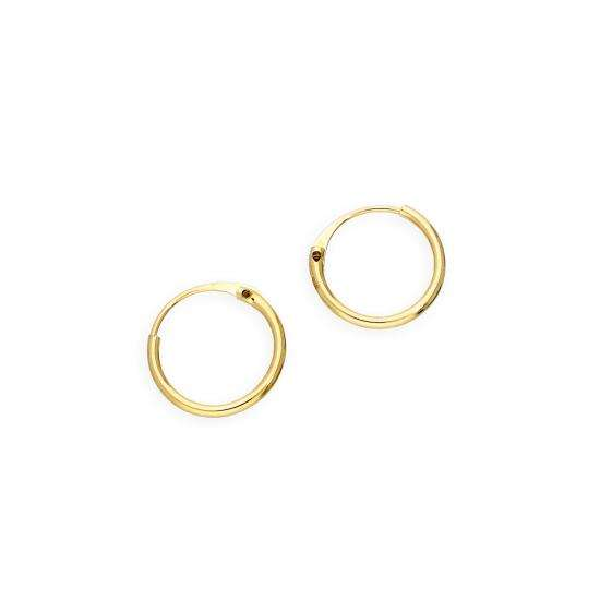 9ct Gold 0.8mm Tube Hoop Earrings 8mm