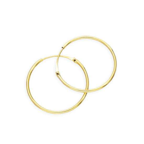 9ct Gold 0.8mm Tube Hoop Earrings 16mm