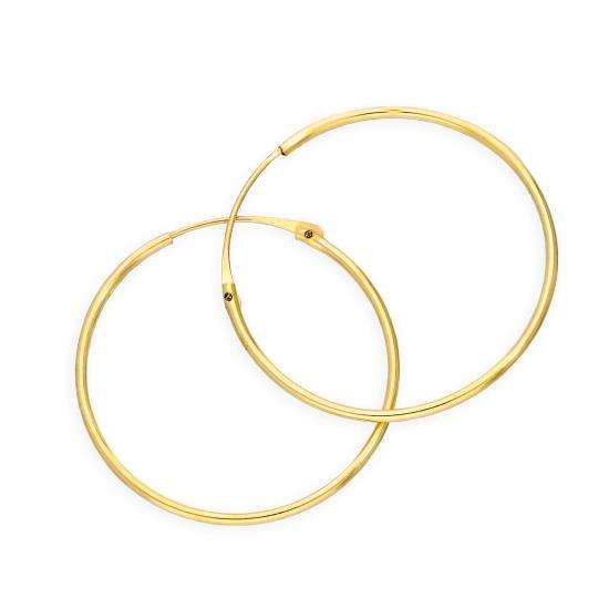 9ct Gold 0.8mm Tube Hoop Earrings 20mm